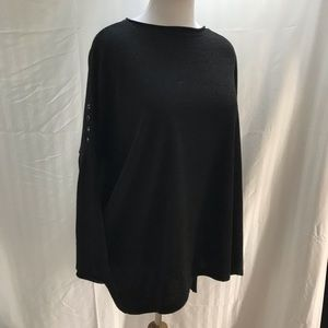 Black knit tunic with dolman sleeves in size 1X